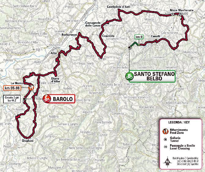 Mapa del recorrido del Gran Piemonte 2020