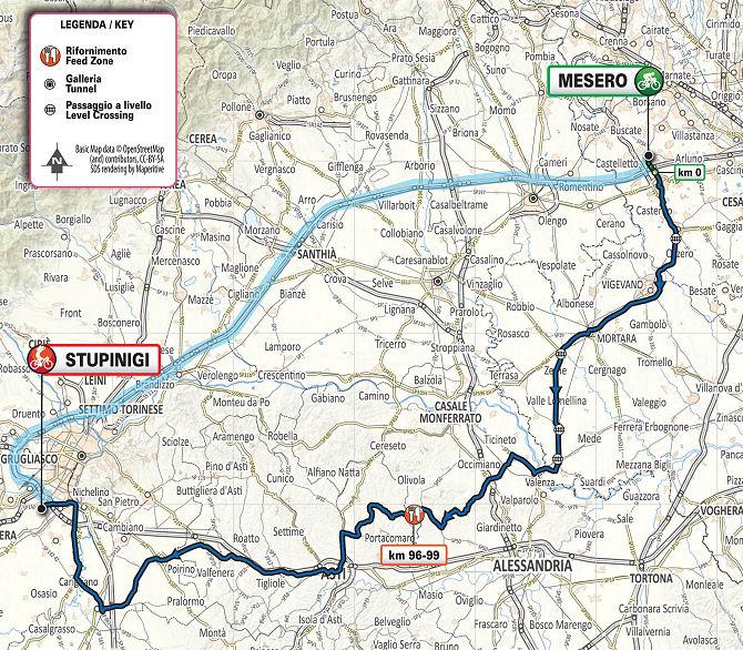 Mapa del recorrido de la Milán - Turín 2020